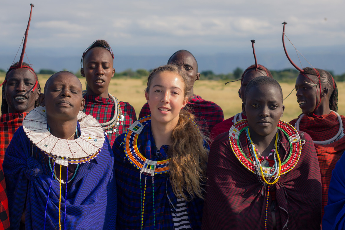 Abbie with Maasai women