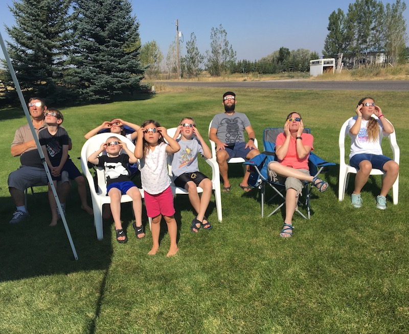 My family looking to the skies in anticipation of the eclipse