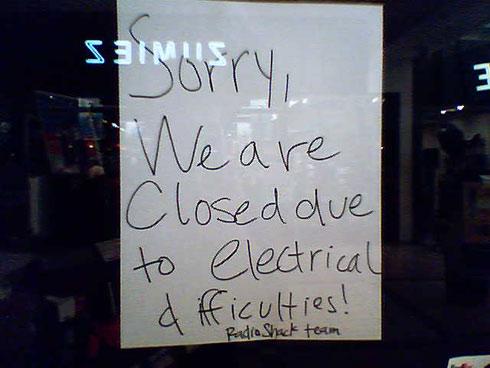 Radio Shack - shocking closure notice